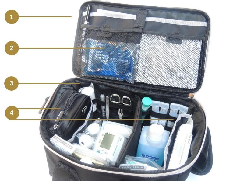 Die Pflegetasche gefüllt mit Pflegeutensilien und Ampullarium(1)