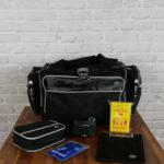Arzttasche groß schwarz mit Schultergurt Rucksack Ampullarium Abwurfbehälter Klemmbrett