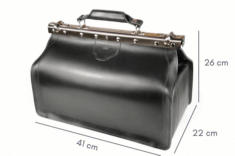 Delara Arzttasche Leder schwarz - Abmessungen
